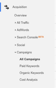google analytics acquisition campagne