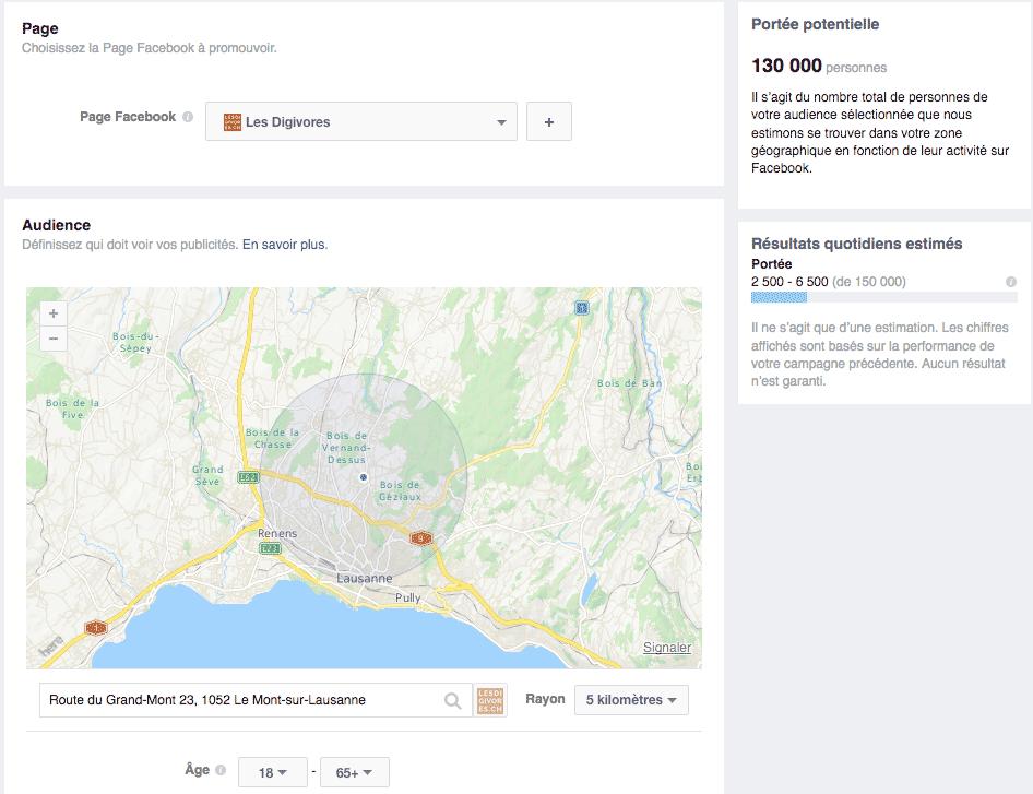 Géolocalisation des publicités facebook