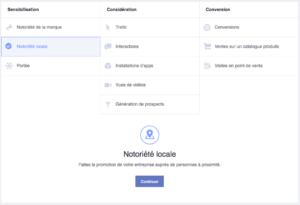 Option notoriété locale publicité Facebook