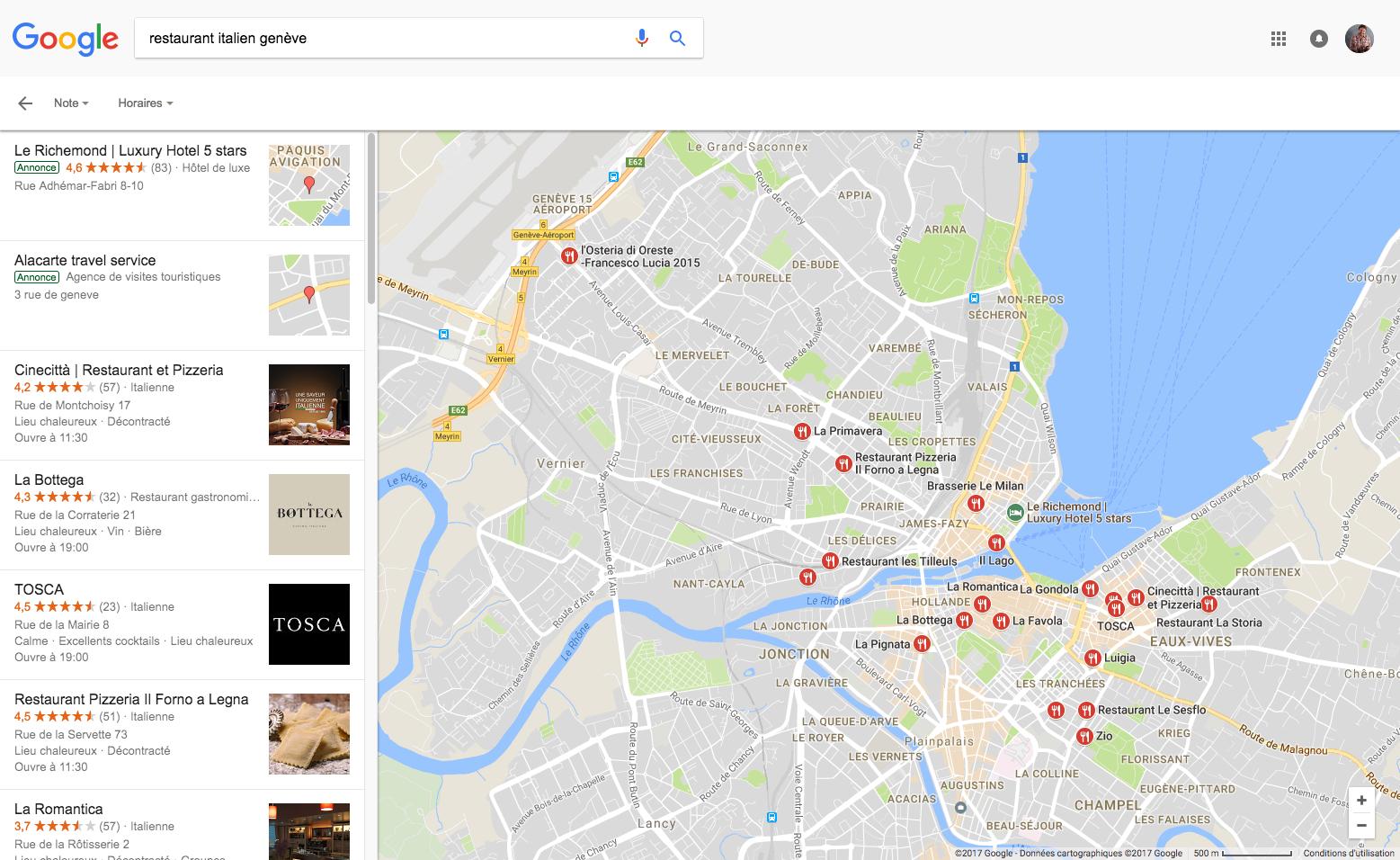 recherche locale restaurant italien genève - google my business